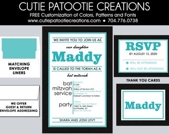 Bat Mitzvah Invitations - Teal and Black Bat Mitzvah Invitation - Add RSVP Card, Thank You Notes, Addressing, Custom Colors Available