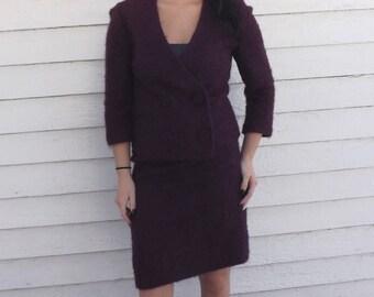 Vintage Purple Boucle Set Skirt Jacket XS 60s 70s