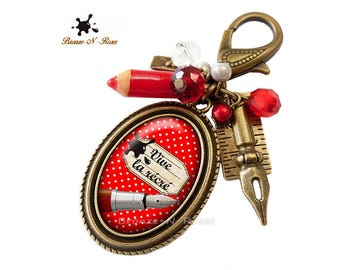 Vivid red cabochon polka dot gift teacher school recess bag charm