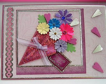 ESPECIALLY FOR YOU Bouquet of Hearts and Flowers Card - Birthday, Anniversary, Get Well, Thank You,Mother's Day,