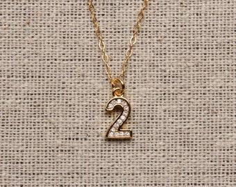 Personalized jewelry - Gold number pendant - 2 pendant - 2 number necklace - Gold 2 necklace - custom jewelry, personalized jewelry