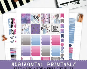 Horizontal Girl Boss printable planner stickers for Erin Condren LifePlannerTM cut files fashion girl marble galaxy glasses watch coffee kit