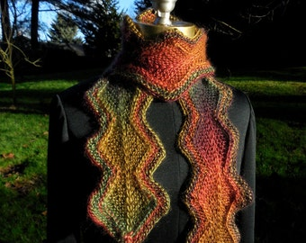 Chain of Diamonds Knit Scarf in Polo Colorway rust green red gold orange