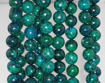 10mm Chrysocolla Gemstone Round Loose Beads 7.5 inch Half Strand (90143190-B61)
