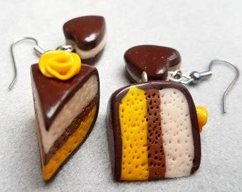 chocolate banana vanilla cake/cookie/handmade item/design/jewelry gift/trendy/unique jewelry/fimo/impressive/cute
