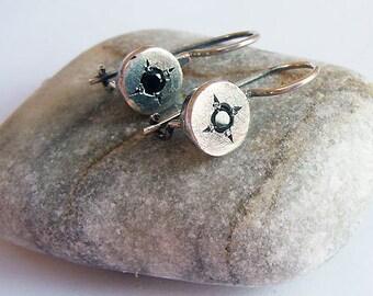 Black Onyx Silver Earrings, Silver Dangle Earrings, Black Stone Earrings, Israeli Jewelry, Black Gemstone Earrings, Small Black Earrings,