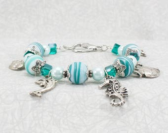 Sea Creature Charm Bracelet / Ocean Charm Braclet / Under the Sea Bracelet / Aqua Blue Bracelet
