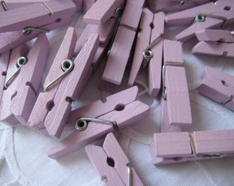 "Small Lavender Wooden Clothespins for Wedding, Baby Shower, Party Favors, Embellishment, Gift Tags, 1.25"", 12 or 24 pieces"