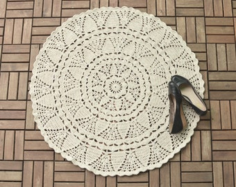 PATTERN - Crochet Doily Rug - White large lace rug - instant download