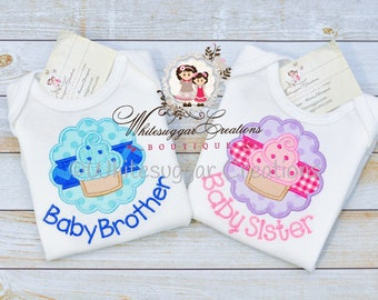 Little Sister Shirt, Middle Sister, Big Sister Shirt, Baby Brother - Custom Personalized Siblings Outfit - New Baby Set