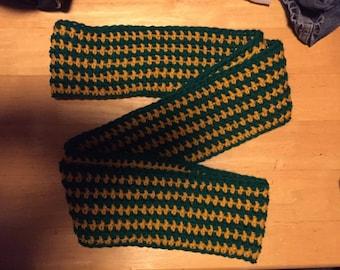 Crocheted striped infinity scraf