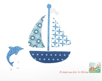 Blue Dolphin fabric and fusible boat flex glitter patch pattern fusible iron-on applique boat patch iron on