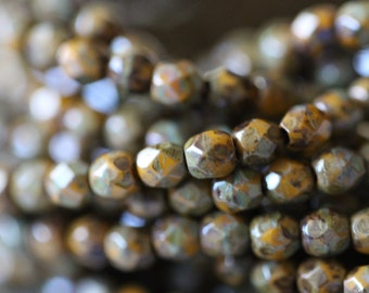 Czech Glass Beads, 3mm, Round, Faceted, Goldenrod, Picasso, Brown, Fire Polished, Faceted, Beads, 50 pieces