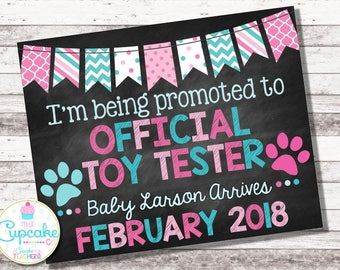 Dog Pregnancy Announcement | Official Toy Tester | Pink & Blue | Chalkboard Sign | Pregnancy Reveal | Pregnancy Photo Prop | Puppy | Digital