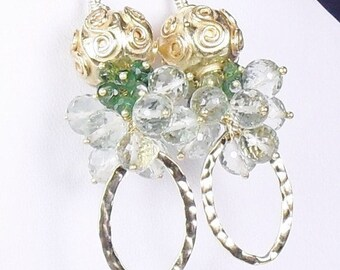 Green Amethyst Tourmaline Vermeil Chandelier Earrings, Gold Statement Earrings, Gift for Her, One of a Kind