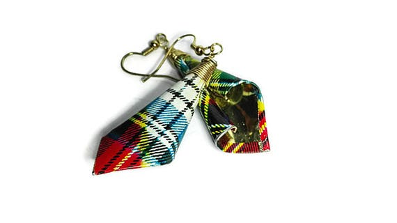 Scottish style metal dangle earrings