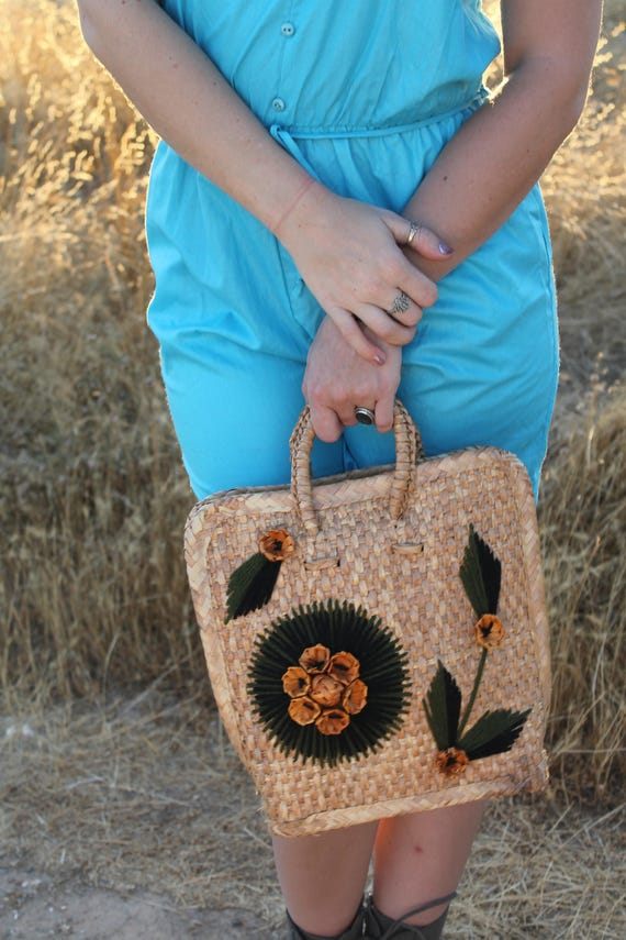 PALM 1970's Rattan Basket Purse Vintage Handbag