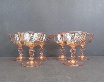 Vintage Arcoroc 'Rosaline' Pink Swirl French Champagne Glasses, Set of 6 (E10572)