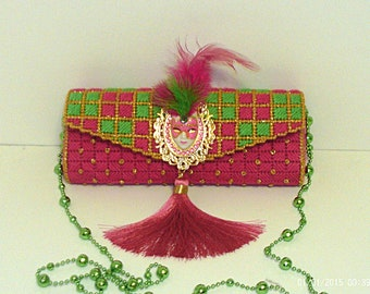 Pink green gold and white women's masquerade clutch/evening bag