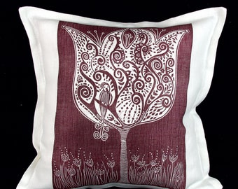 linocut, decorative pillow cover, Poetree, ruby red, cushion cover, linen fabric, textile art, tree, bird, flowers, printmaking, hand made