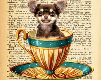Chihuahua Pup in Teacup A4 Print