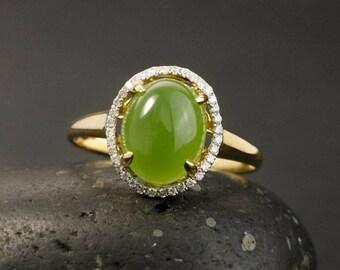 Oval Green Jade Ring – Diamond Halo Setting
