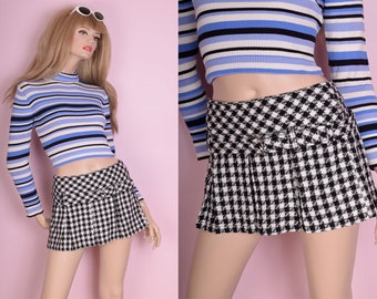 90s Black and White Gingham Tweed Mini Skirt/ US 7/ 1990s