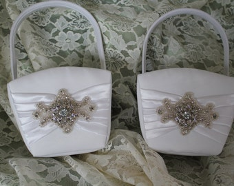 2 White Flower Girl Baskets Large Rhinestone Applique Accent-Up to Age 4