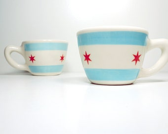 one (1) super rad 12oz cup/mug chicago flag - Made to Order