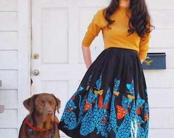 RESERVED do not purchase! 1950s novelty border print cat skirt