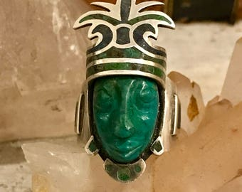 Vintage Mexican Aztec Warrior Carved Green Onyx Face Sterling Silver Vintage Ring Vintage Mexican Jewelry