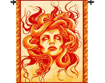 Wall Tapestry Large Fabric Art Medusa Gorgona Gorgon Greek Mythology Home Wall Decor
