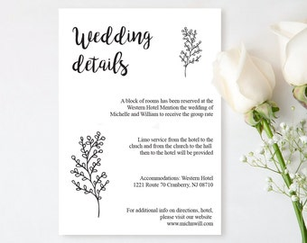 Wedding Details Card Template, Rustic Wedding Details Card, Editable Text, Printable File, Instant Download, PDF Template #BRO014a