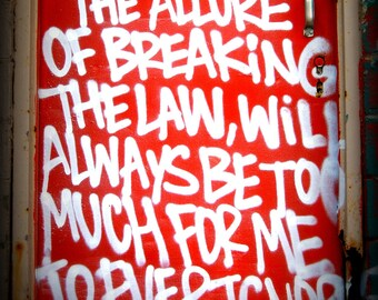 Detroit Photograph, Breaking the Law Graffiti, Fine Art Photography on Metallic Paper