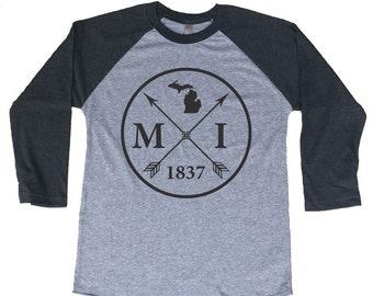 Homeland Tees Michigan Arrow Tri-Blend Raglan Baseball Shirt