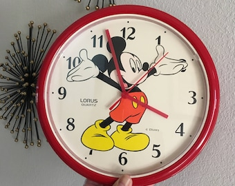 Mickey Mouse Wall Clock by Lorus, Disney Clock, Wall Clock, Quartz Clock, Vintage Battery Operated Clock, Collectible Disney Character Clock