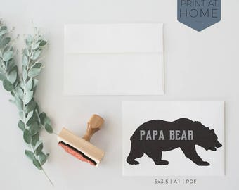 Papa Bear | New Dad Printable Card | Hipster Bear With Grunge Letters, Black & Gray, Card For Him, Father's Day Card, Printing Available