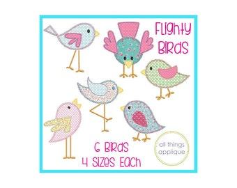 Flighty Bird Set Applique - 6 Designs - 4 Sizes Each - BEAN Stitch (#1127) - Spring Applique Design - INSTANT DOWNLOAD