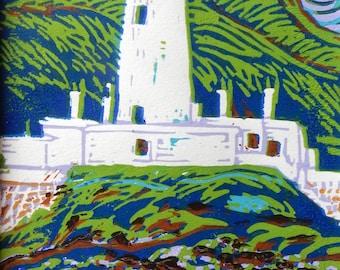 Lismore Lighthouse Scotland Original Limited Edition Reduction Linocut Print Small Format Art