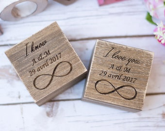 Wedding Ring Box Rustic Wedding wooden ring Box Ring Bearer Ring Holder Personalized Ring Boxes Set of 2 Infinity Ring Box