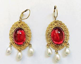 """Ruby Red and Pearls Earrings, Handmade, Original, 2 1/4"""" drop"""