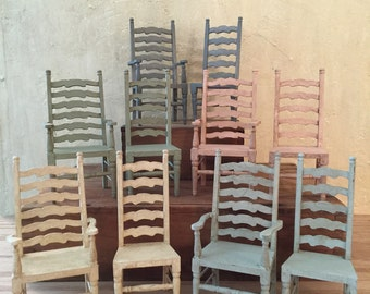 French Provencal Miniature Armless Chair, Miniature Dollhouse Chairs,  Farmhouse Chairs, Dollhouse Furniture,