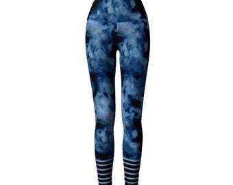 Workout leggings. High waist indigo leggings. Deep blue Yoga Leggings. Long Leggings. Women's tights. Printed ankle Leggings.