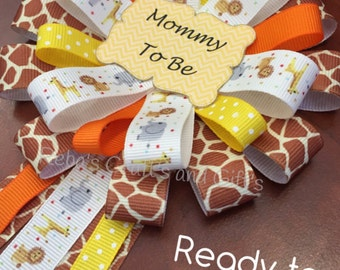 Ready to Ship - Mommy To Be Corsage - Baby Shower Pin - Jungle, Safari, Zoo