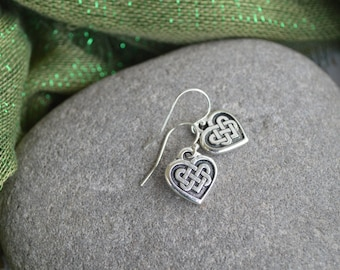 Irish Celtic Heart Earrings with Sterling silver ear wires