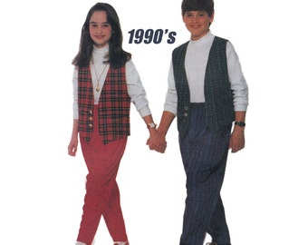 """1990's Butterick 6366 Girl's or Boy's Vest, Top, Pants in Size S- L    Breast 26- 32"""" /66- 81cm    Sewing Pattern UNCUT"""