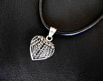 Heart Leather Necklace, Heart Necklace, Leather Necklace, Heart Jewelry, Heart Pendant,Mens Leather Necklace,Mens Necklace Pendant,Gift Mens