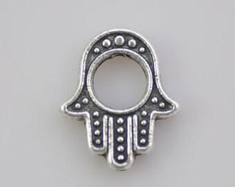 20 Fatima Hand Charms 16x17mm Antique Silver Tone Hand of Fatima Hamsa Hand Charms