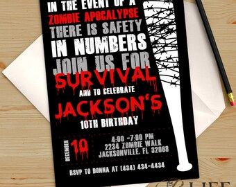 Zombie Apocalypse Dead Walker Birthday Invitation Printable DIY