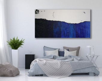 Large Blue Abstract Painting / Horizontal Painting / Modern Art / Large Abstract Art / Blue Painting